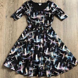 LuLaRoe Nicole Holographic/Iridescent Foil Dress M